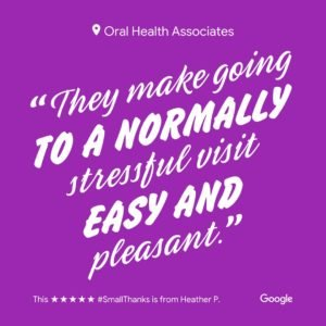 """Dentist review for Green Bay family dentists, Oral Health Associates, with text """"They make going to a normally stressful visit easy and pleasant."""""""